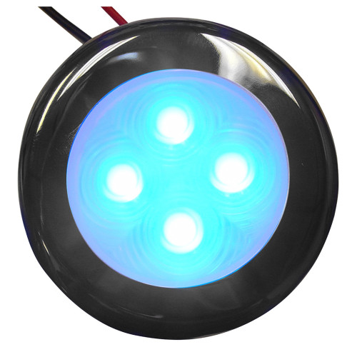 16405-7 Aqua Signal Bogota 4 LED Round Light - Blue LED w/Stainless Steel Housing