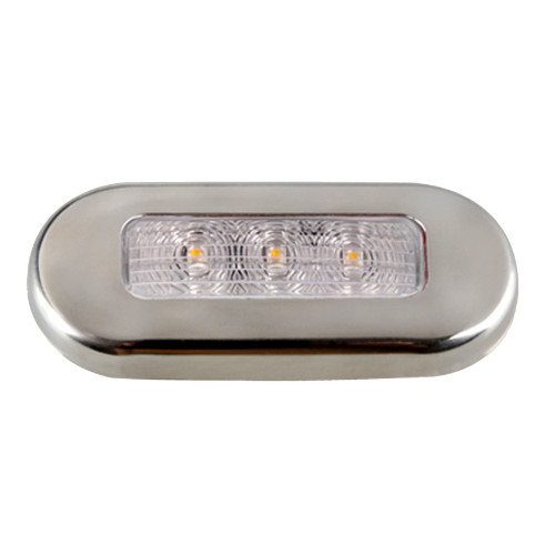 16430-7 Aqua Signal Cordoba LED Oblong Oval Courtesy Light - 12V - Warm White w/Stainless Steel Housing