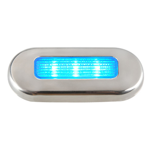 16431-7 Aqua Signal Cordoba LED Oblong Oval Courtesy Light - 12V - Blue w/Stainless Steel Housing