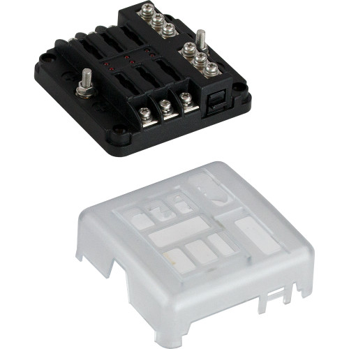 445185-1 Sea-Dog Blade Style LED Indicator Fuse Block w/Negative Bus Bar - 6 Circuit