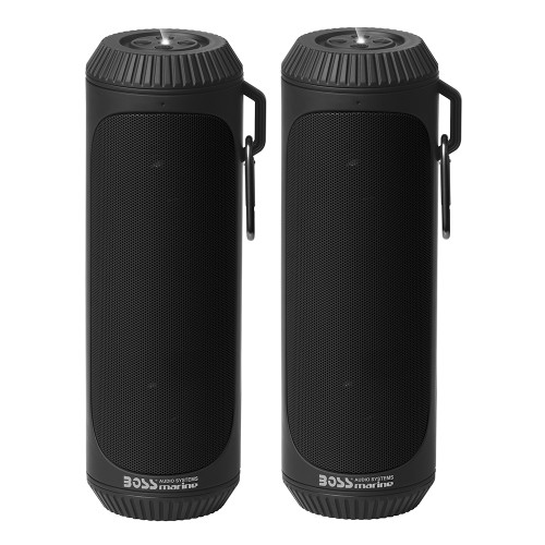 BOLTBLK Boss Audio Bolt Marine Bluetooth Portable Speaker System w/Flashlight - Pair - Black