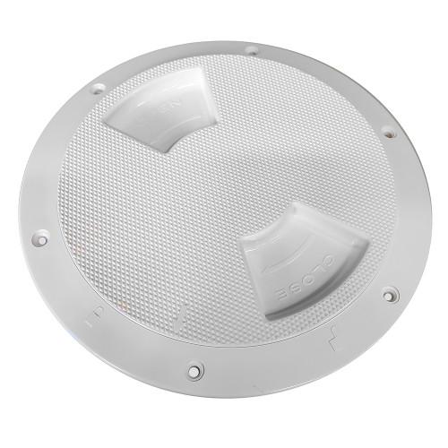 "336382-1 Sea-Dog Quarter-Turn Textured Deck Plate w/Internal Collar - White - 8"""