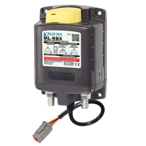 7717100 Blue Sea 7717100 ML-RBS Remote Battery Switch with Manual Control Auto Release & Deutsch Connector - 24V