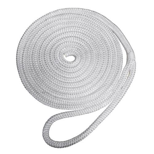 "7181954 Robline Premium Nylon Double Braid Dock Line - 3/4"" x 45' - White"
