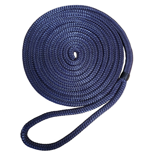 """7181957 Robline Premium Nylon Double Braid Dock Line - 3/4"""" x 45' - Navy Blue"""