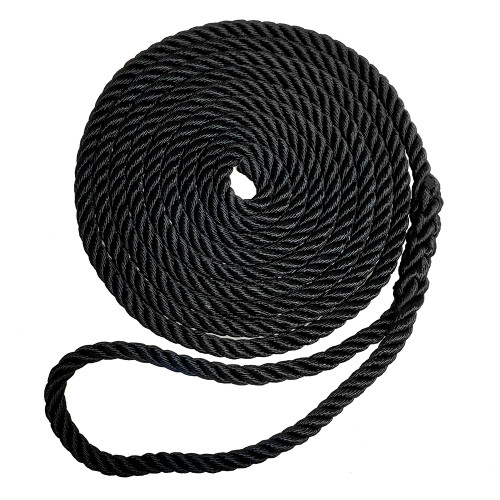 "7181969 Robline Premium Nylon 3 Strand Dock Line - 1/2"" x 30' - Black"