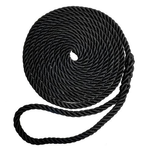 "7181973 Robline Premium Nylon 3 Strand Dock Line - 5/8"" x 25' - Black"