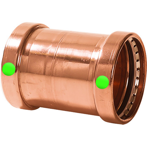 "20743 Viega ProPress XL 2-1/2"" Copper Coupling w/o Stop - Double Press Connection - Smart Connect Technology"