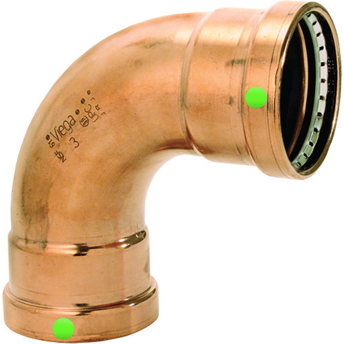 "20623 Viega ProPress XL 2-1/2"" - 90 Degree Copper Elbow - Double Press Connection - Smart Connect Technology"
