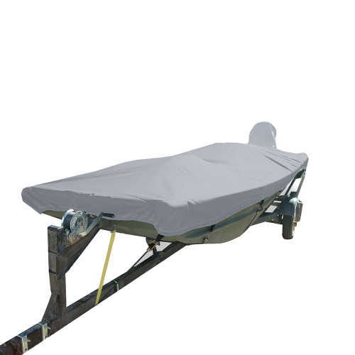74203P-10 Carver Performance Poly-Guard Styled-to-Fit Boat Cover f/16.5 Open Jon Boats - Grey
