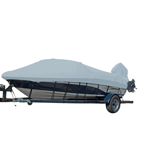 77015P-10 Carver Performance Poly-Guard Styled-to-Fit Boat Cover f/15.5 V-Hull Runabout Boats w/Windshield & Hand/Bow Rails - Grey