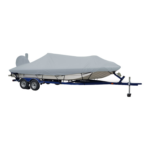 71421XP-10 Carver Performance Poly-Guard Extra Wide Series Styled-to-Fit Boat Cover f/21.5 Aluminum Modified V Jon Boats - Grey