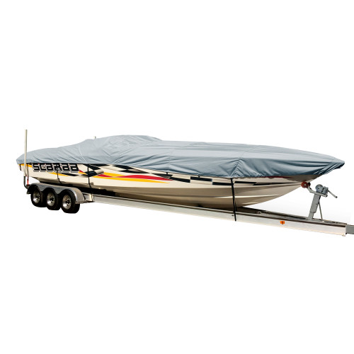 74327P-10 Carver Performance Poly-Guard Styled-to-Fit Boat Cover f/27.5 Performance Style Boats - Grey