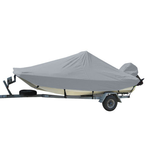 71023P-10 Carver Performance Poly-Guard Styled-to-Fit Boat Cover for 23.5 Bay Style Center Console Fishing Boats - Grey