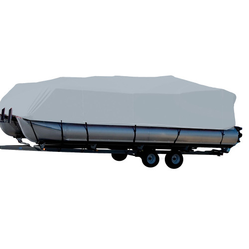 77618P-10 Carver Performance Poly-Guard Styled-to-Fit Boat Cover f/18.5 Pontoons w/Bimini Top & Partial Rails - Grey