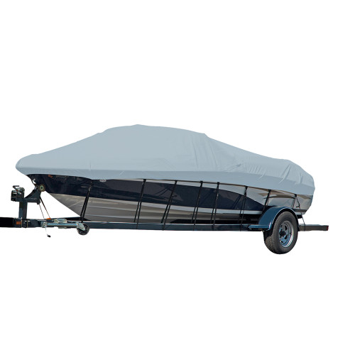 77125P-10 Carver Performance Poly-Guard Styled-to-Fit Boat Cover f/25.5 Sterndrive V-Hull Runabout Boats (Including Eurostyle) w/Windshield & Hand/Bow Rails - Grey