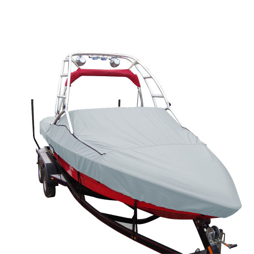 97120P-10 Carver Performance Poly-Guard Specialty Boat Cover f/20.5 Sterndrive V-Hull Runabouts w/Tower - Grey