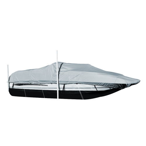 95120P-10 Carver Performance Poly-Guard Styled-to-Fit Boat Cover f/20.5 Sterndrive Deck Boats w/Walk-Thru Windshield - Grey