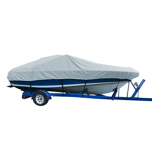 77724P-10 Carver Performance Poly-Guard Styled-to-Fit Boat Cover f/24.5 V-Hull Low Profile Cuddy Cabin Boats w/Windshield & Rails - Grey