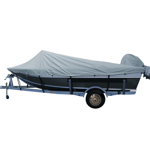 79020XP-10 Carver Performance Poly-Guard Extra Wide Series Styled-to-Fit Boat Cover f/20.5 Aluminum Boats w/High Forward Mounted Windshield - Grey