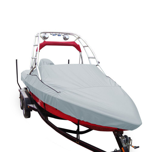 97020P-10 Carver Performance Poly-Guard Specialty Boat Cover f/20.5 V-Hull Runabouts w/Tower - Grey