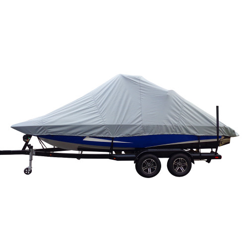 82123P-10 Carver Performance Poly-Guard Specialty Boat Cover f/23.5 Inboard Tournament Ski Boats w/Wide Bow & Swim Platform - Grey