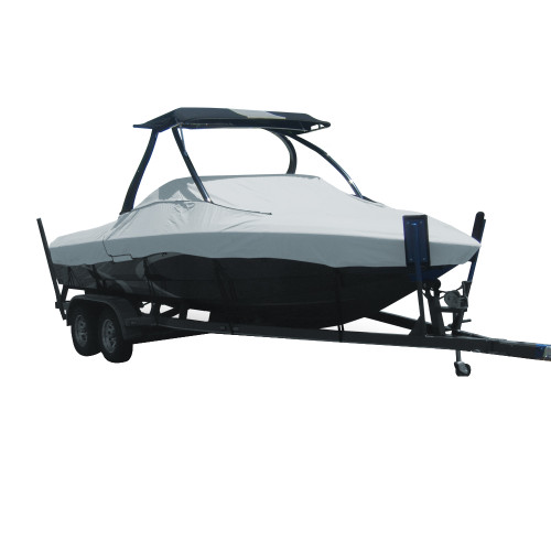 74522P-10 Carver Performance Poly-Guard Styled-to-Fit Boat Cover f/22.5 Tournament Ski Boats w/Tower - Grey