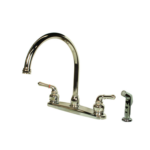 "CH801GS American Brass RV Kitchen Faucet With Gooseneck Spout, Teapot Handles And Sprayer 8"" - Chrome"
