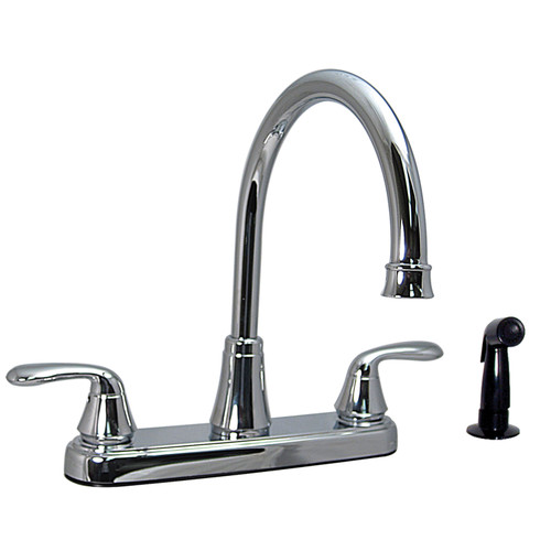 """PF231301 Phoenix Faucets by Valterra Two-Handle 8"""" Hybrid Kitchen Faucet with High-Arc Spout and Side Sprayer - Chrome"""