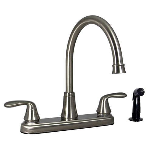 """PF231401 Phoenix Faucets by Valterra Two-Handle 8"""" Hybrid Kitchen Faucet with High-Arc Spout with Side Sprayer - Brushed Nickel"""