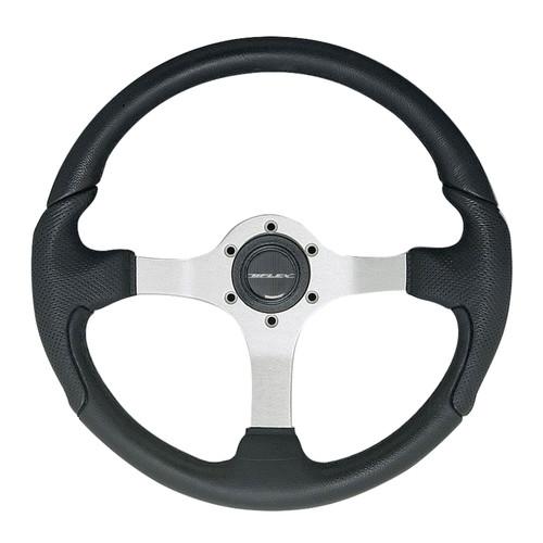 NISIDA-B/S Uflex 61813P Steering Wheel - Black Grip with Silver Spokes