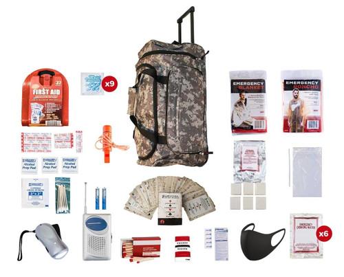 1 Person Survival Kit (72+ Hours) CAMO Wheel Bag SKGK||CAMO Wheel Bag