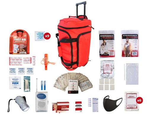 1 Person Survival Kit (72+ Hours) RED Wheel Bag SKGK||RED Wheel Bag