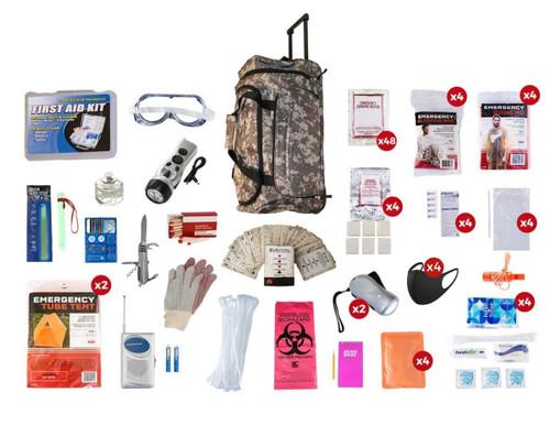 4 Person Elite Survival Kit (72+ Hours) CAMO Wheel Bag SKT4  CAMO Wheel Bag