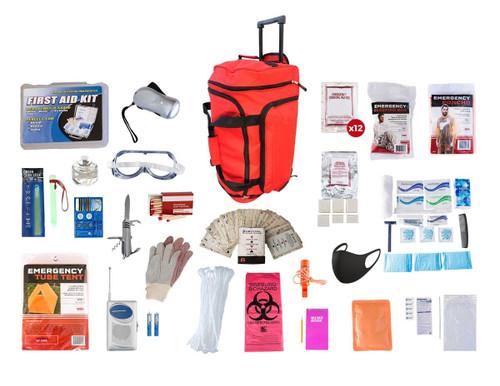 1 Person Elite Survival Kit (72+ Hours) RED Wheel Bag SKTK||RED Wheel Bag