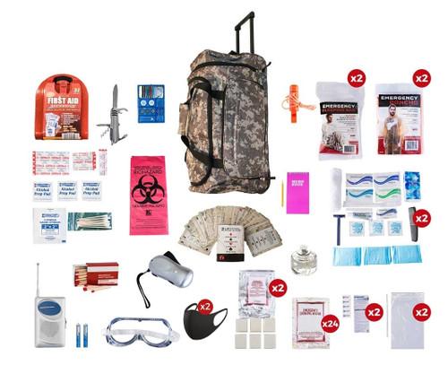 2 Person Deluxe Survival Kit (72+ Hours) CAMO Wheel Bag SKX2||CAMO Wheel Bag