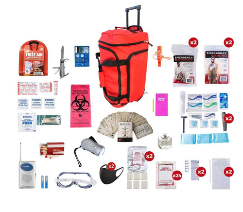 2 Person Deluxe Survival Kit (72+ Hours) RED Wheel Bag SKX2||RED Wheel Bag