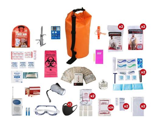 2 Person Deluxe Survival Kit (72+ Hours) Waterproof Dry Bag SKX2||Waterproof Dry Bag