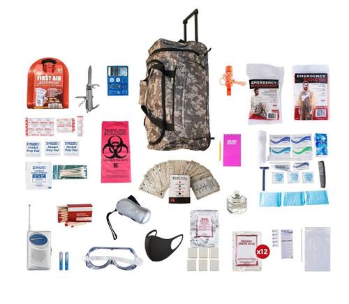 1 Person Deluxe Survival Kit (72+ Hours) CAMO Wheel Bag SKXK||CAMO Wheel Bag