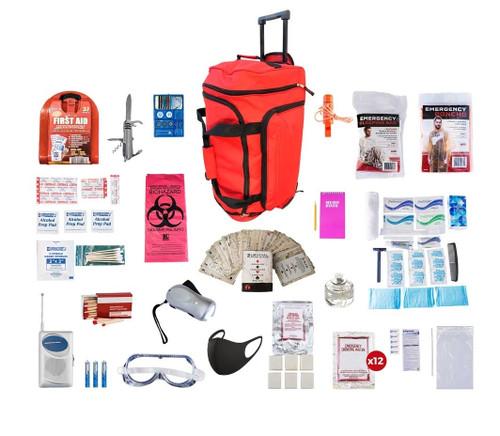 1 Person Deluxe Survival Kit (72+ Hours) RED Wheel Bag SKXK||RED Wheel Bag