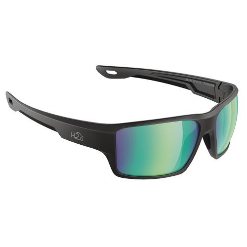H2004 H2Optix Ashore Sunglasses Matt Black, Brown Green Flash Mirror Lens Cat. 3 - AntiSalt Coating w/Floatable Cord