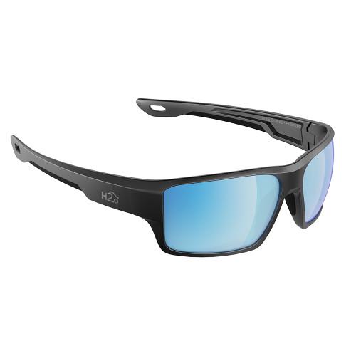H2005 H2Optix Ashore Sunglasses Matt Gun Metal, Grey Blue Flash Mirror Lens Cat. 3 - AntiSalt Coating w/Floatable Cord