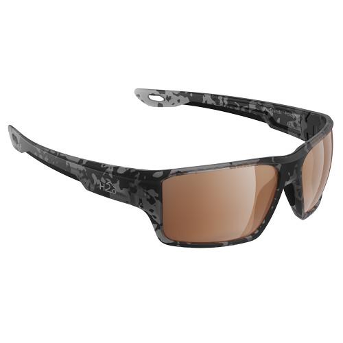 H2007 H2Optix Ashore Sunglasses Matt Tiger Shark, Brown Lens Cat. 3 - AntiSalt Coating w/Floatable Cord