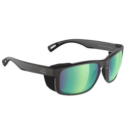 H2008 H2Optix Reef Sunglasses Matt Black, Brown Green Flash Mirror Lens Cat. 3 - AntiSalt Coating w/Floatable Cord