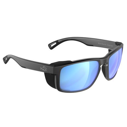 H2009 H2Optix Reef Sunglasses Matt Gun Metal, Grey Blue Flash Mirror Lens Cat.3 - AntiSalt Coating w/Floatable Cord