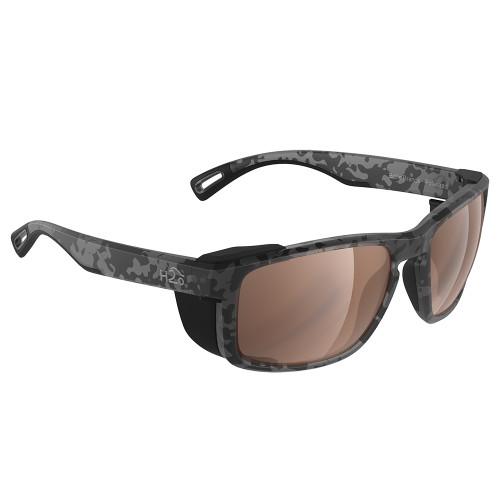 H2011 H2Optix Reef Sunglasses Matt Tiger Shark, Brown Lens Cat.3 - AntiSalt Coating w/Floatable Cord
