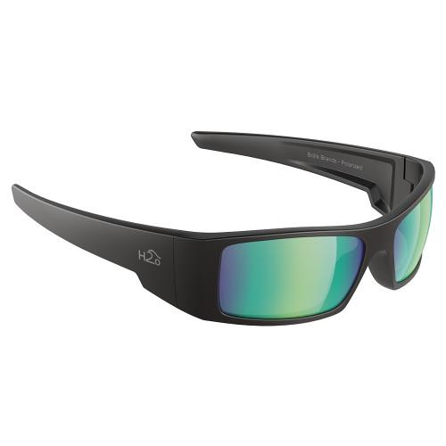 H2012 H2Optix Waders Sunglasses Matt Black, Brown Green Flash Mirror Lens Cat.3 - AntiSalt Coating w/Floatable Cord