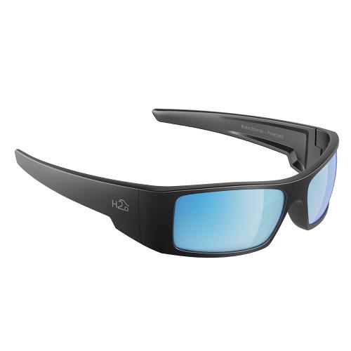 H2013 H2Optix Waders Sunglasses Matt Gun Metal, Grey Blue Flash Mirror Lens Cat.3 - AntiSalt Coating w/Floatable Cord