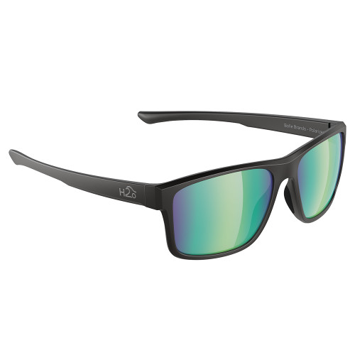 H2029 H2Optix Coronado Sunglasses Matt Black, Brown Green Flash Mirror Lens Cat. 3 - AR Coating