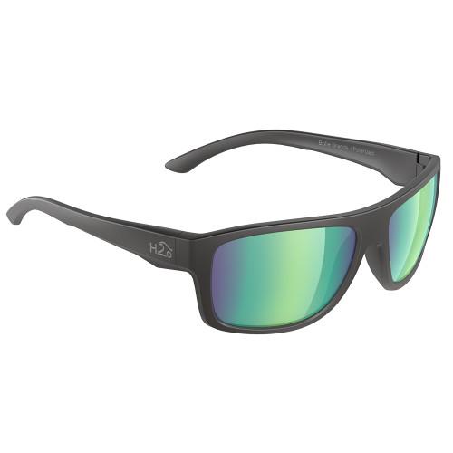 H2024 H2Optix Grayton Sunglasses Matt Black, Brown Green Flash Mirror Lens Cat. 3 - AR Coating